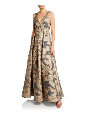 Aidan Mattox V-Neck Sleeveless Metallic Jacquard A-Line Gown