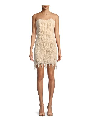 aijek Fringe-Trim Strapless Mini Cocktail Dress