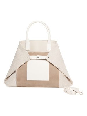 AKRIS Ai Medium Canvas & Leather Top-Handle Bag