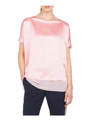 AKRIS Cap-Sleeve Silk Satin Tunic Blouse
