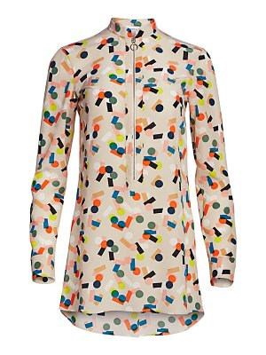 Akris punto belair printed zip-up tunic blouse