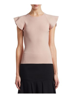 Akris punto flutter-sleeve knit top