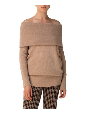 Akris punto off the shoulder wool & cashmere tunic sweater