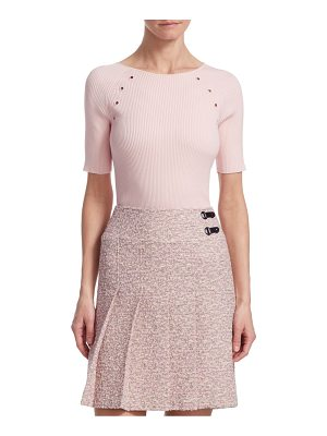 Akris punto ribbed eyelet top
