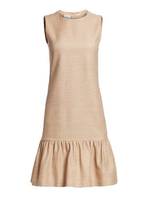 Akris punto sleeveless raw silk drop waist dress