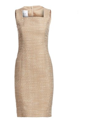 Akris punto tweed squareneck sheath dress