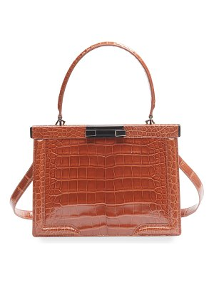 ALAIA Cecile Small Croc-Embossed Top-Handle Bag