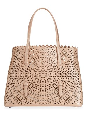 ALAIA Mina Medium Laser-Cut Leather Tote Bag