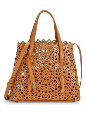 Alaïa mini mina leather laser-cut shoulder bag