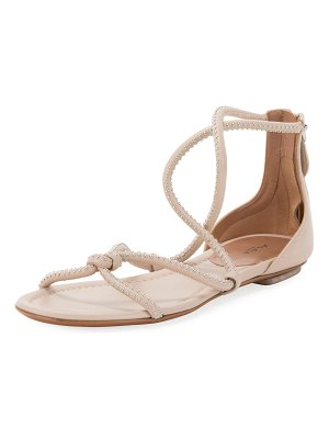 ALAIA Twisted Studded Flat Leather Sandals