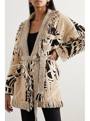 ALANUI belted fringed cotton and wool-blend jacquard cardigan