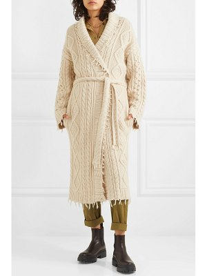 ALANUI lapponia fringed cable-knit cashmere and wool-blend cardigan