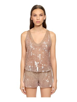 Alberta Ferretti Beaded & sequined tulle top
