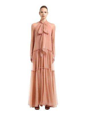 Alberta Ferretti Flared hem silk chiffon long dress