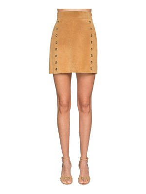 Alberta Ferretti Suede mini skirt w/ gold ring details
