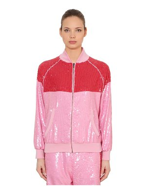 Alberta Ferretti Two tone sequined track jacket