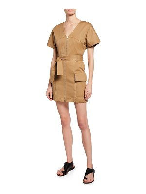 A.L.C. Bellamy Zip-Front Short-Sleeve Stretch-Cotton Dress