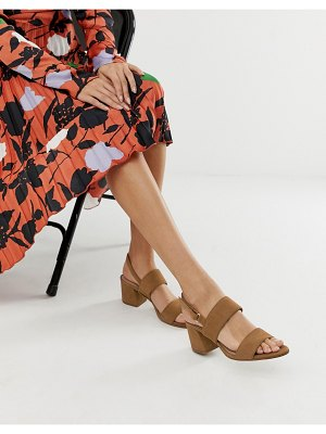 ALDO arievia suede flared block heeled sandals in tan
