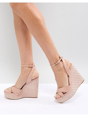 ALDO Cross Strap Wedge Shoe with Textured Heel