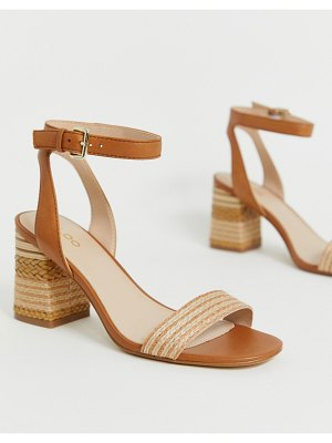 ALDO gweilian woven block heeled sandals in tan