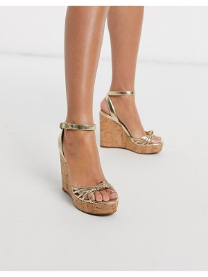 ALDO kaoedia heel wedge sandal in gold leather