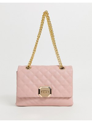 ALDO menifee light pink quilted cross body bag with double gold chunky chain strap