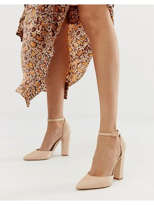 ALDO nicholes block heeled pumps with ankle strap in beige-pink