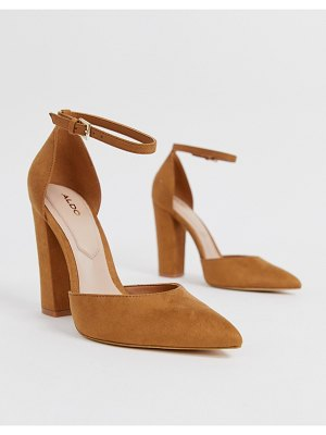 ALDO nicholes block heeled pumps with ankle strap in brown