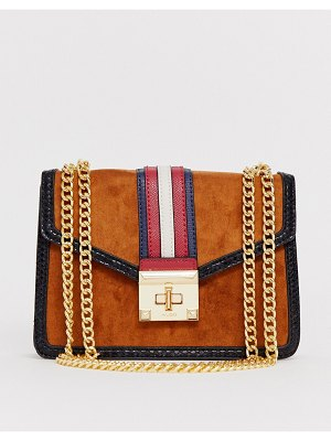 ALDO prede suedette shoulder crossbody bag with strap contrast and chain strap in tan