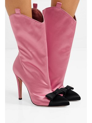 Alessandra Rich bow-embellished two-tone satin ankle boots