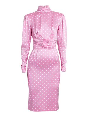 Alessandra Rich dressing for pleasure polka dot satin dress