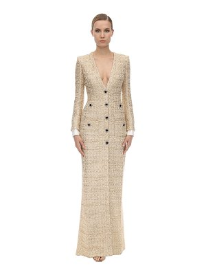 Alessandra Rich Long v neck tweed dress w/micro sequins