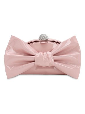 Alessandra Rich Patent leather bow clutch