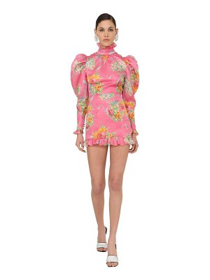 Alessandra Rich Printed organza mini dress