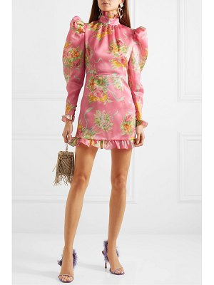Alessandra Rich ruffle-trimmed floral-print silk-organza mini dress