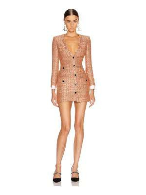 Alessandra Rich v neck sequin tweed mini dress