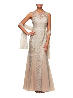 Alex Evenings embroidered illusion mesh evening dress with wrap