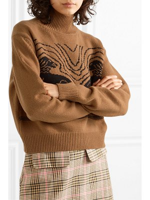 ALEXACHUNG cropped intarsia wool turtleneck sweater