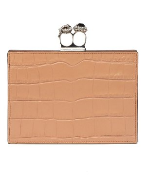 Alexander McQueen knuckle crocodile effect leather clutch