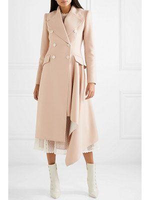 Alexander McQueen asymmetric double-breasted frayed wool and cashmere-blend coat