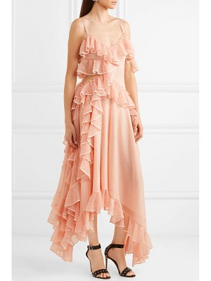 Alexander McQueen asymmetric ruffled silk-organza-trimmed stretch-knit gown