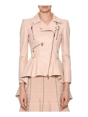 ALEXANDER MCQUEEN Asymmetric-Zip High-Low Leather Moto Jacket