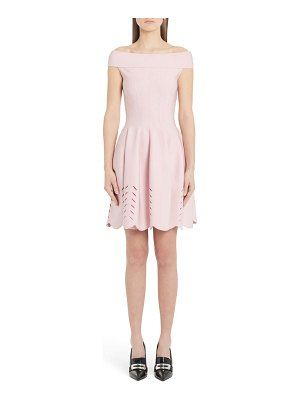 Alexander McQueen cutout scallop off the shoulder sweater dress