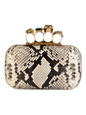 Alexander McQueen skull four-ring snakeskin-embossed leather box clutch