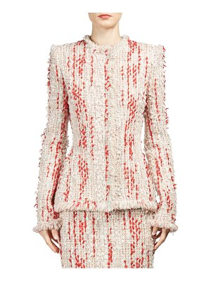 Alexander McQueen frayed petal mixed tweed jacket