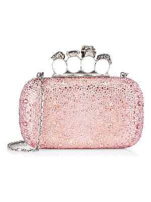 Alexander McQueen glitter 4-ring embellished box clutch-on-chain