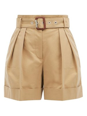 Alexander McQueen high-rise belted cotton-twill shorts