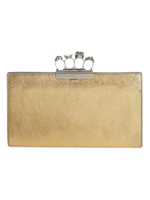 Alexander McQueen knuckle clasp metallic leather clutch