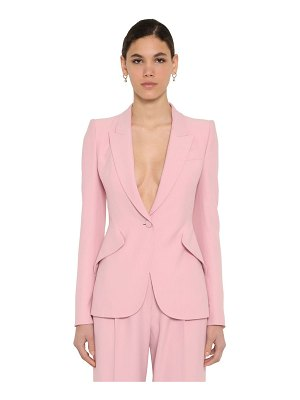 Alexander McQueen Leaf crepe single breast blazer jacket