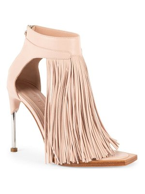 Alexander McQueen leather fringe ankle-strap sandals